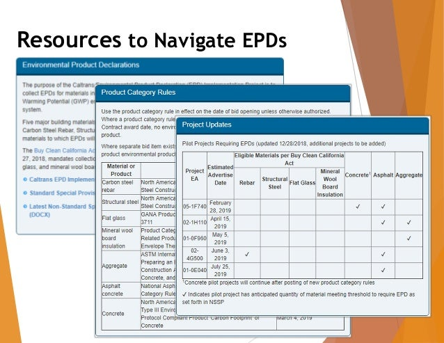 EPD Implementation on Caltrans Projects