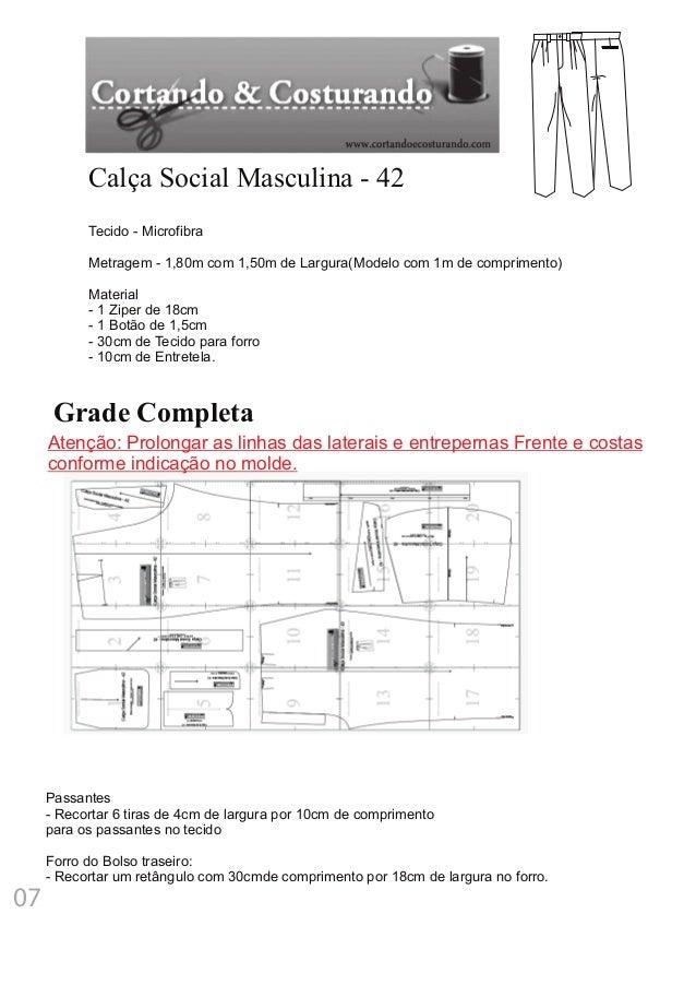Grade Completa Calça Social Masculina - 42 Tecido - Microfibra Metragem - 1,80m com 1,50m de Largura(Modelo com 1m de comp...