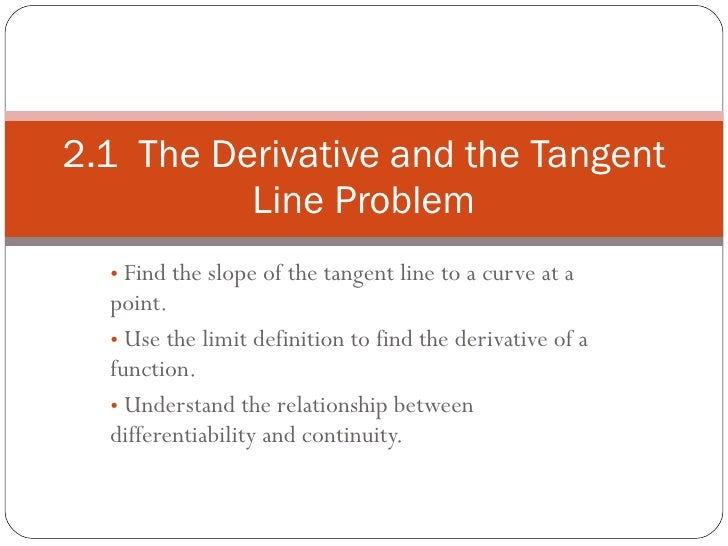 <ul><li>Find the slope of the tangent line to a curve at a point. </li></ul><ul><li>Use the limit definition to find the d...
