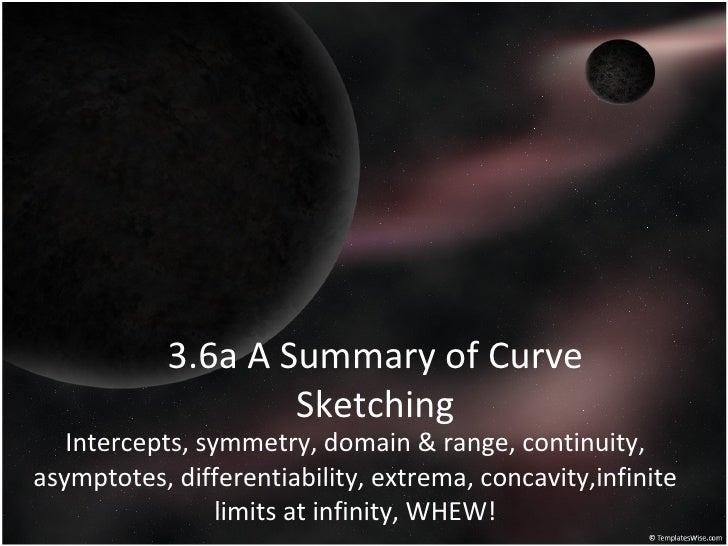 3.6a A Summary of Curve Sketching Intercepts, symmetry, domain & range, continuity, asymptotes, differentiability, extrema...