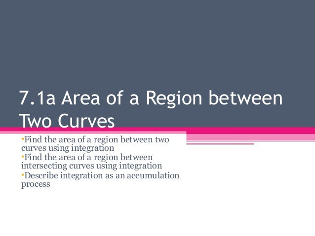 7.1a Area of a Region between Two Curves •Find the area of a region between two curves using integration •Find the area of...