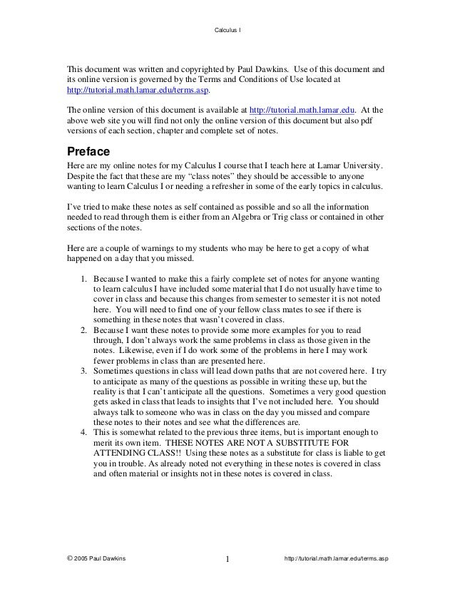 Calculus I  This document was written and copyrighted by Paul Dawkins. Use of this document and its online version is gove...
