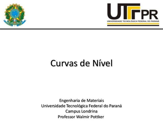 Curvas de Nível  Engenharia de Materiais Universidade Tecnológica Federal do Paraná Campus Londrina Professor Walmir Pottk...