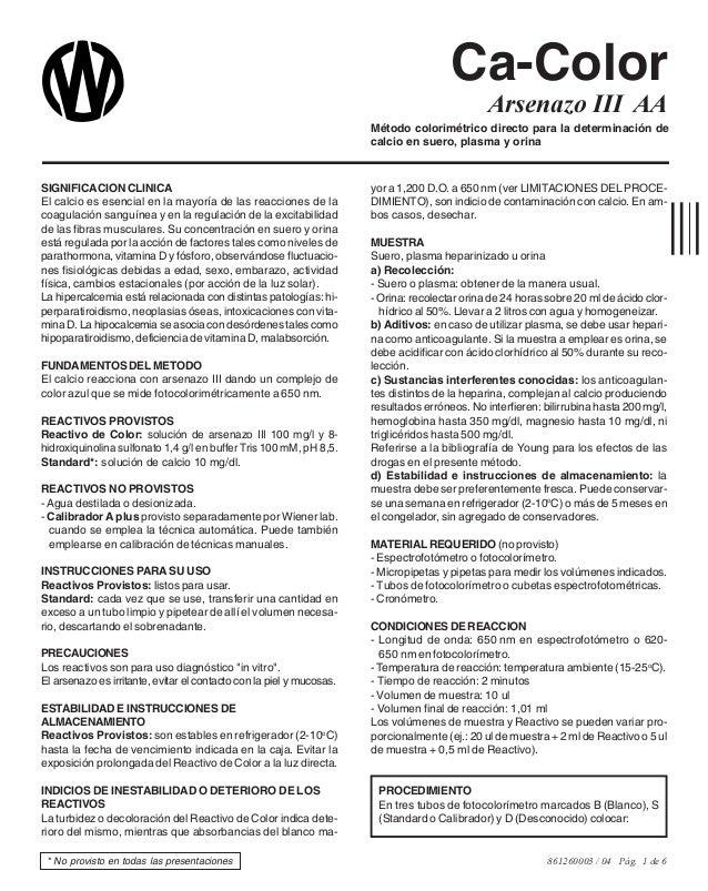 861260003 / 04 Pág. 1 de 6 Método colorimétrico directo para la determinación de calcio en suero, plasma y orina SIGNIFICA...