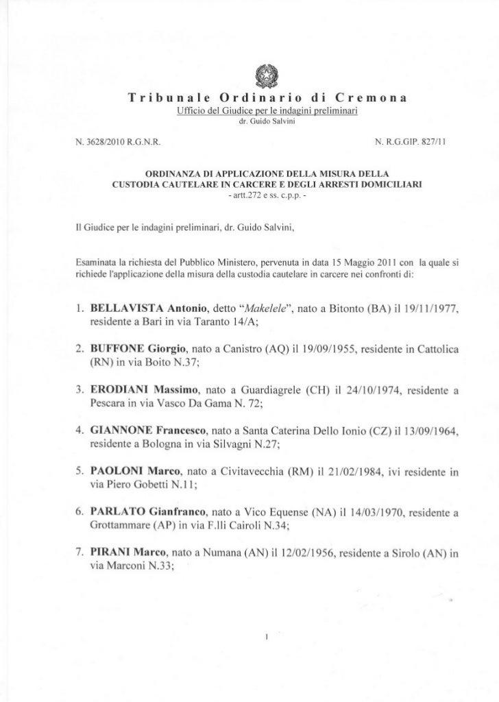 e l'applicazione della misura degli arresti domiciliari nei confronti di :8. BRESSAN Mauro, nato a Valdobbiadene (TV) il 0...