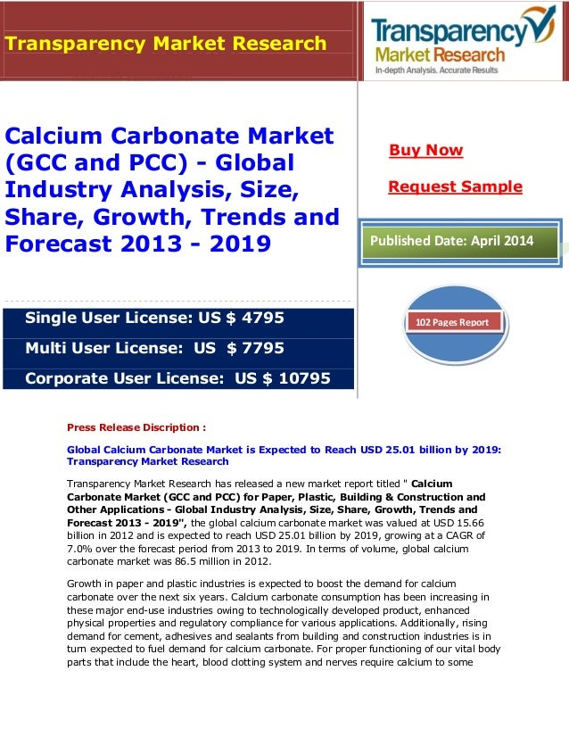 Press Release Discription : Global Calcium Carbonate Market is Expected to Reach USD 25.01 billion by 2019: Transparency M...