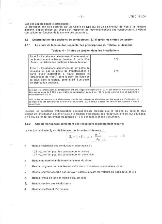 -9- UTE C 17-205 Cas des appareillaaes électroniaues : La protection doit être assurée par un fusible de type gG ou un dis...