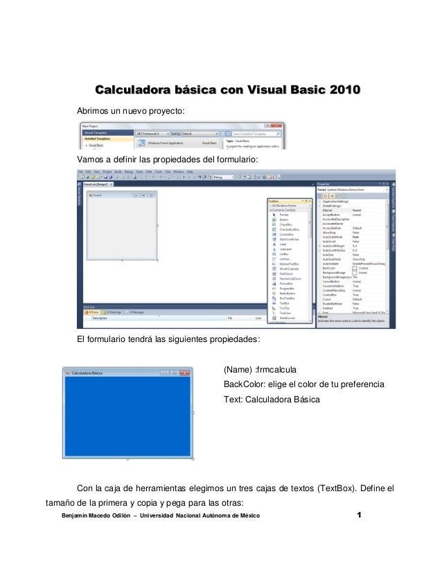 Calculadora básica con Visual Basic 2010       Abrimos un nuevo proyecto:       Vamos a definir las propiedades del formul...