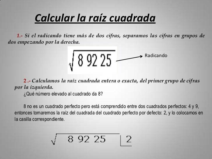 Calcular ra z cuadrada for Como distribuir una cocina cuadrada