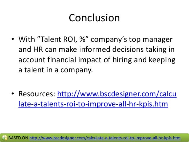 Calculate a talent's roi to improve all hr