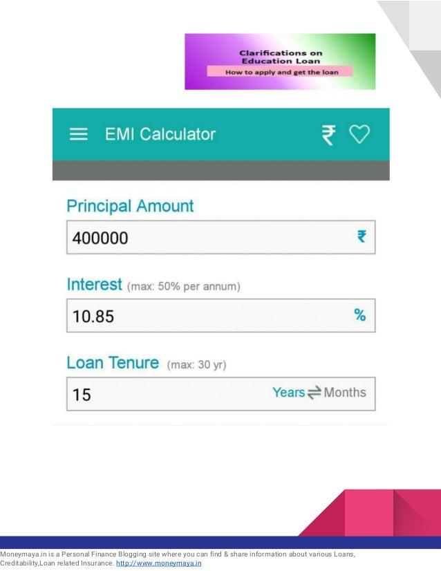 Calculate education loan interest