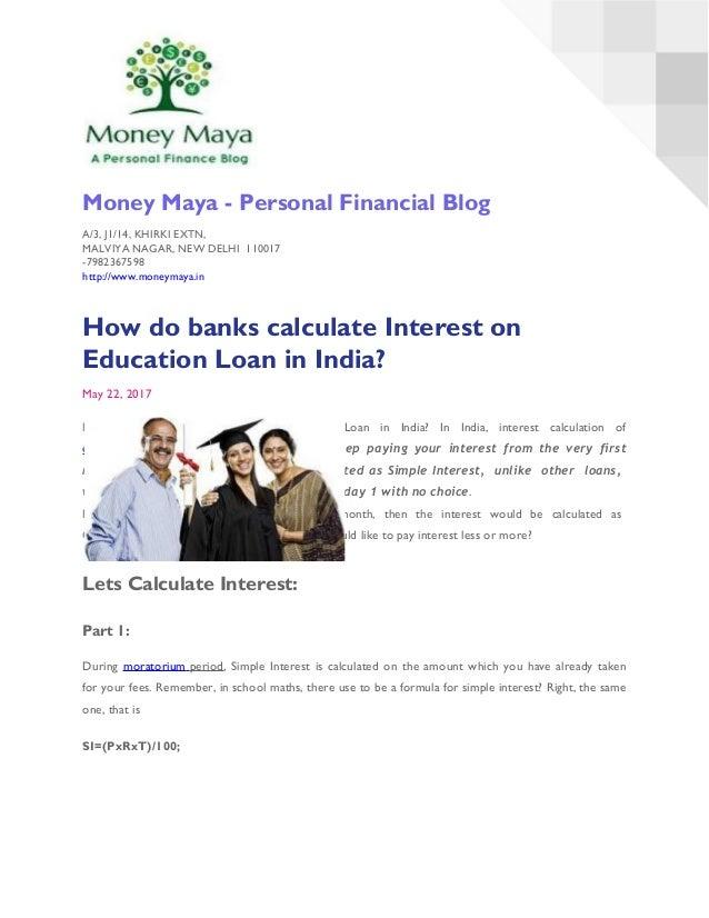 Calculate interest on education loan