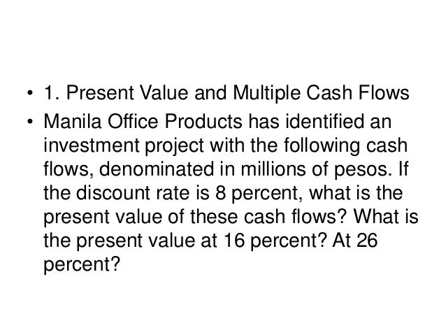 • 1. Present Value and Multiple Cash Flows • Manila Office Products has identified an investment project with the followin...