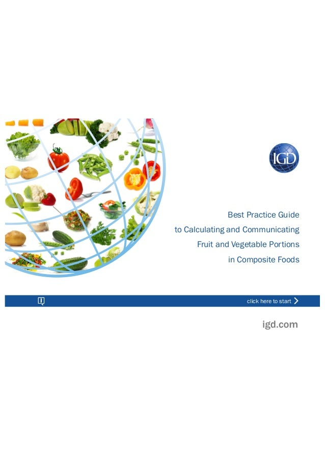 Best Practice Guide to Calculating and Communicating Fruit and Vegetable Portions in Composite Foods click here to start