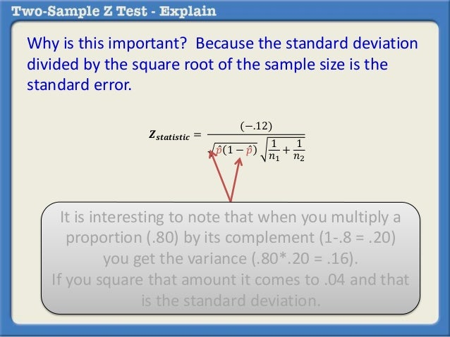 Calculating a two sample z test by hand