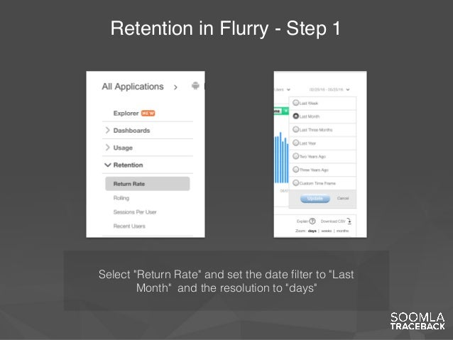 """Retention in Flurry - Step 1 Select """"Return Rate"""" and set the date filter to """"Last Month"""" and the resolution to """"days"""""""