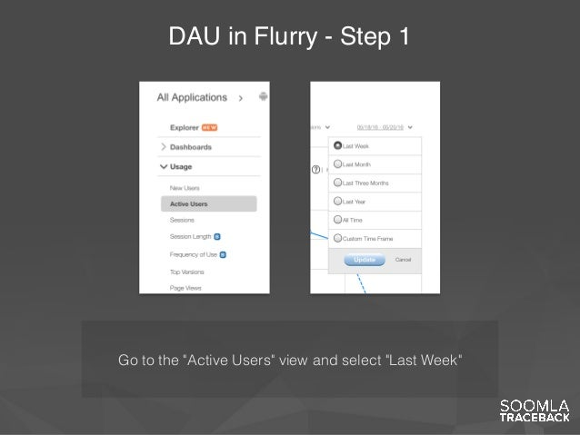 """DAU in Flurry - Step 1 Go to the """"Active Users"""" view and select """"Last Week"""""""