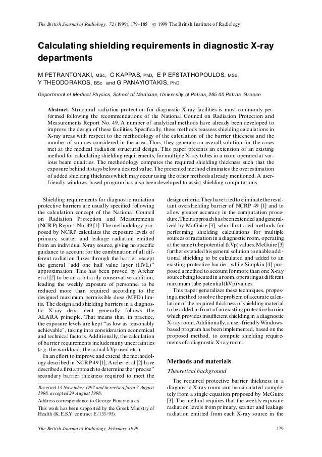 Calculating shielding requirements in diagnostic X-ray departments M PETRANTONAKI, MSc, C KAPPAS, PhD, E P EFSTATHOPOULOS,...