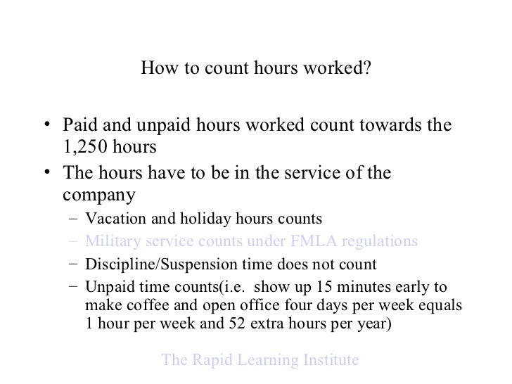 Calculating Time and FMLA Regulations
