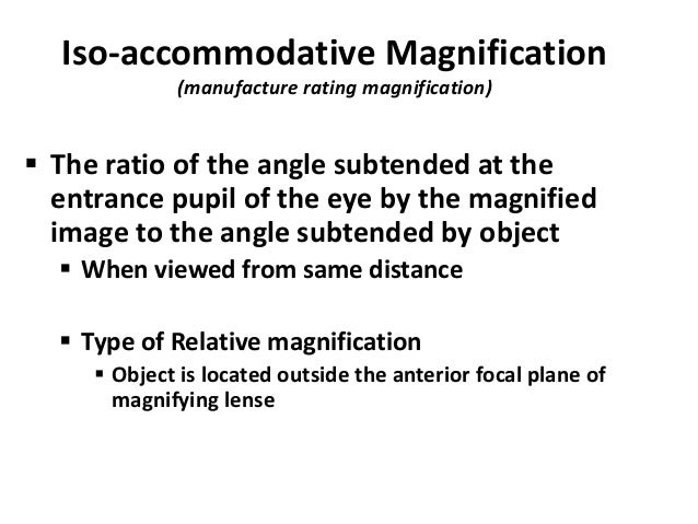 Calculation of magnification in low vision