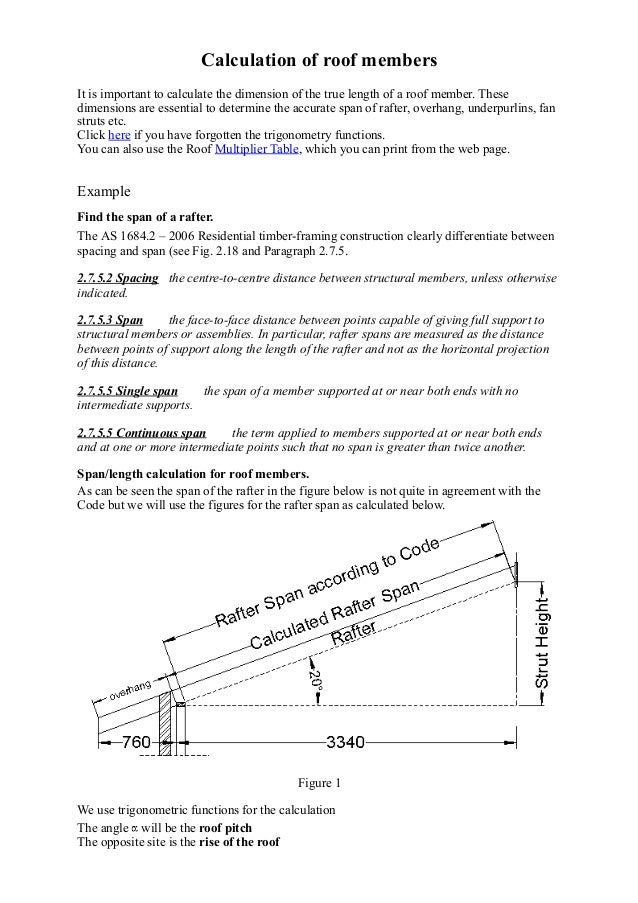 Calculation Of True Length Of Roof Members