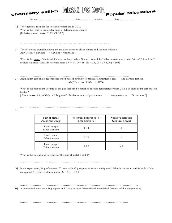 chemistry skill part 3 - popular Calculations