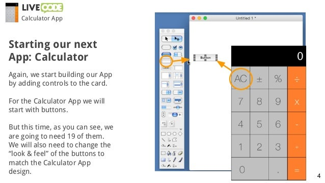 Again, we start building our App by adding controls to the card. For the Calculator App we will start with buttons. But th...