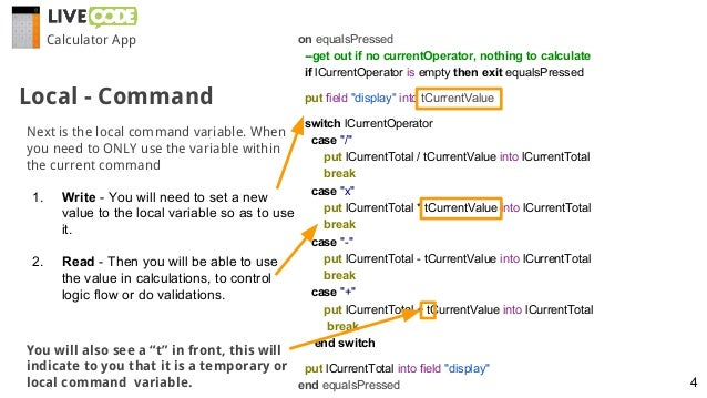 Calculator App Local - Command on equalsPressed --get out if no currentOperator, nothing to calculate if lCurrentOperator ...