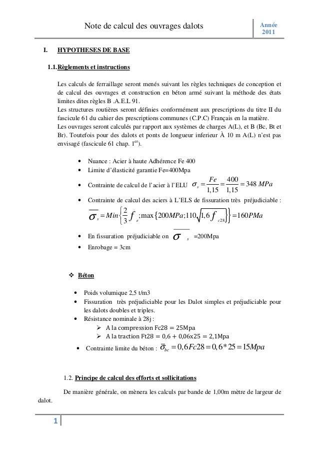 Note de calcul des ouvrages dalots                                   Année                                                ...