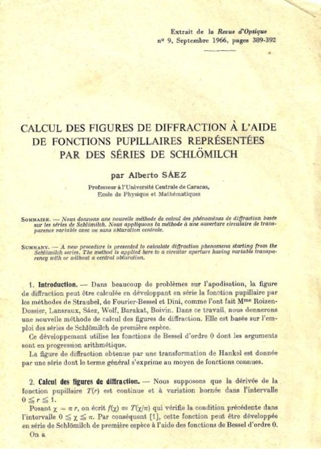 Calcul des Figures de Diffraction à l'Aide de Fonctions Pupillaires