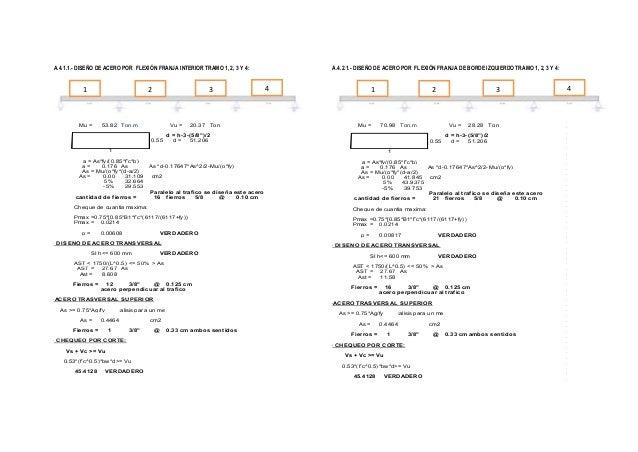 A.4.1.1.- DISEÑO DE ACERO POR FLEXIÓN FRANJA INTERIOR TRAMO 1, 2, 3 Y 4:  1  3  2  Mu =  53.82 Ton.m  Vu = 0.55  20.37 Ton...