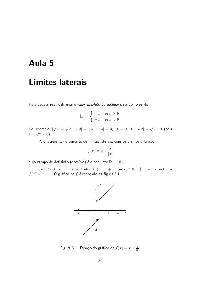 Aula 5Limites lateraisPara cada x real, de¯ne-se o valor absoluto ou m¶dulo de x como sendo                               ...