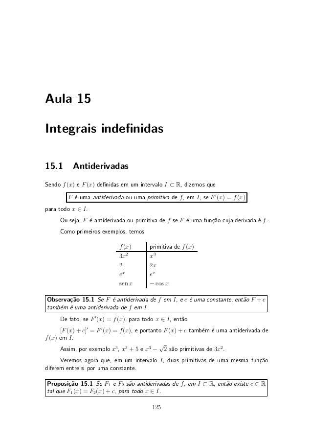 Aula 15Integrais inde¯nidas15.1      AntiderivadasSendo f (x) e F (x) de¯nidas em um intervalo I ½ R, dizemos que        F...