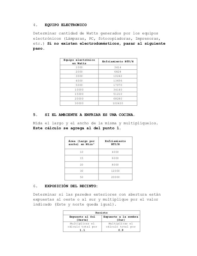 Calculo de btu for Escala de metros cuadrados