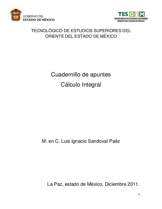 TECNOLÓGICO DE ESTUDIOS SUPERIORES DEL     ORIENTE DEL ESTADO DE MÉXICO        Cuadernillo de apuntes            Cálculo I...