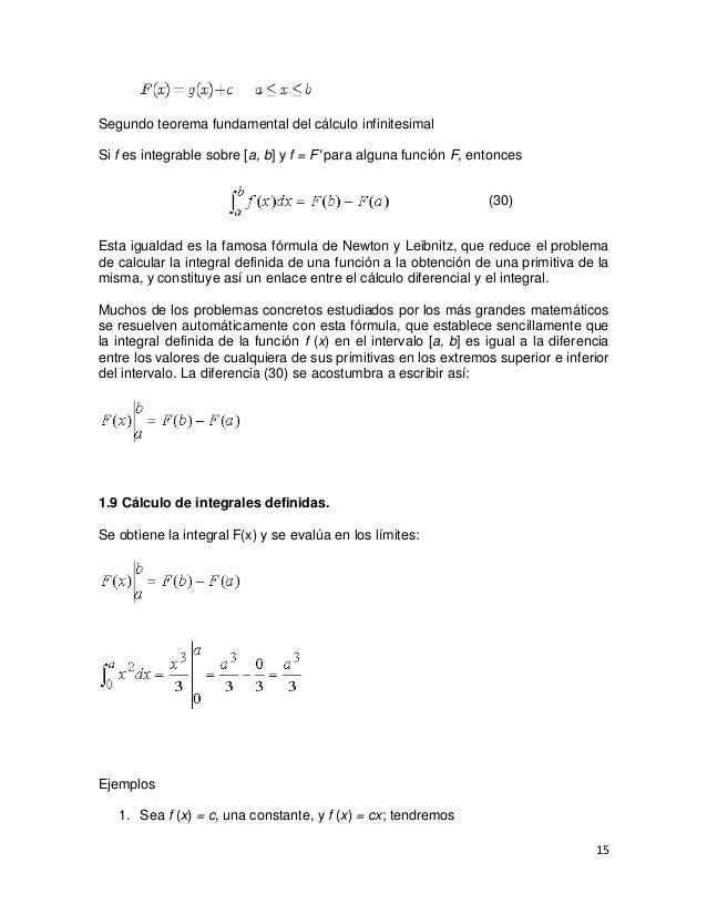 Segundo teorema fundamental del cálculo infinitesimalSi f es integrable sobre [a, b] y f = F para alguna función F, entonc...