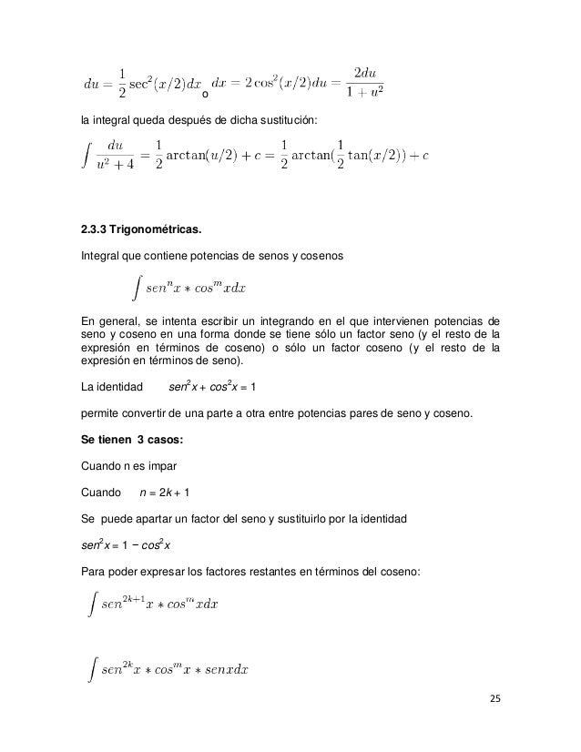 ola integral queda después de dicha sustitución:2.3.3 Trigonométricas.Integral que contiene potencias de senos y cosenosEn...