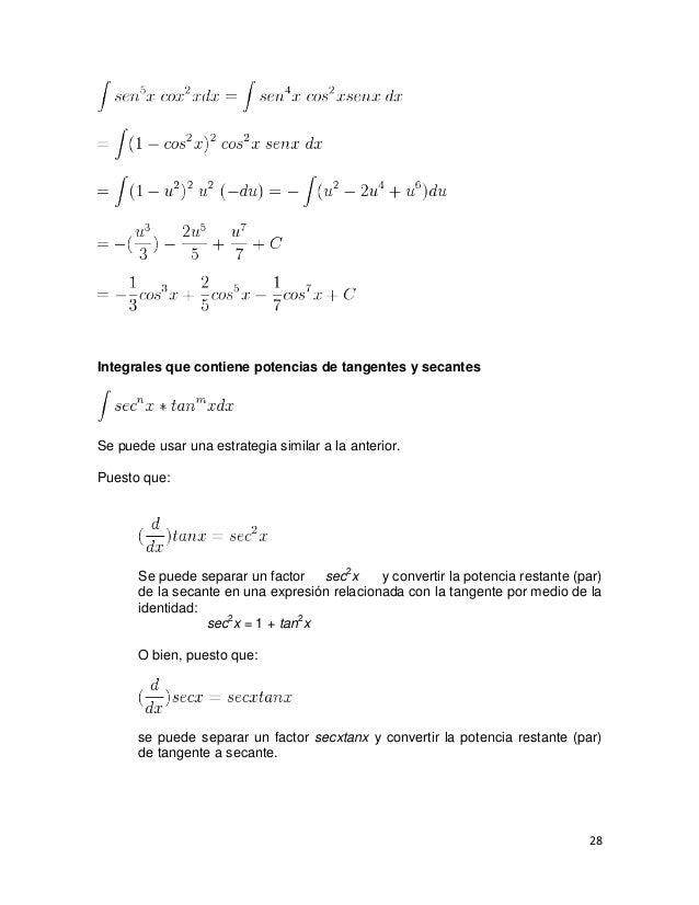 Integrales que contiene potencias de tangentes y secantesSe puede usar una estrategia similar a la anterior.Puesto que:   ...