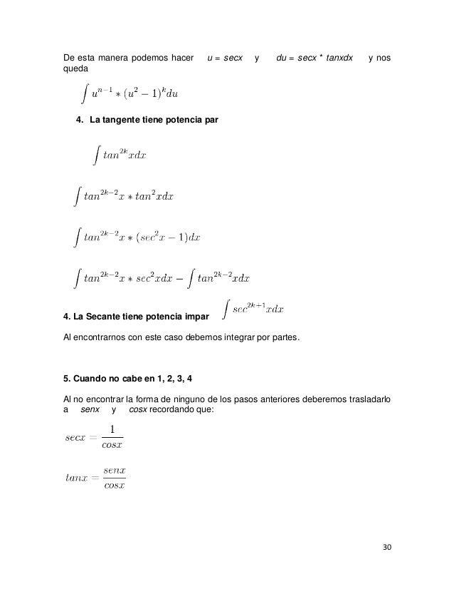 De esta manera podemos hacer       u = secx    y    du = secx * tanxdx     y nosqueda   4. La tangente tiene potencia par4...