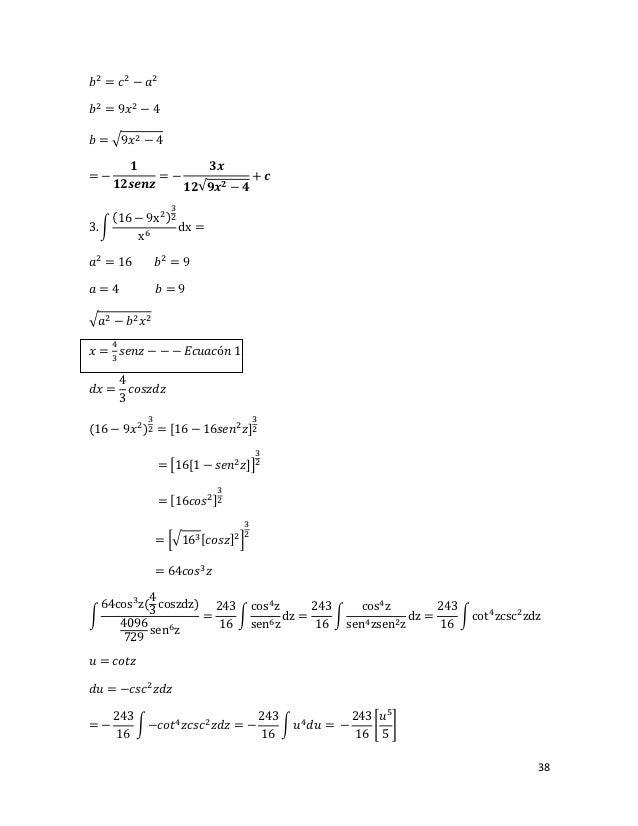 𝑏 2 = 𝑐 2 − 𝑎2𝑏 2 = 9𝑥 2 − 4𝑏 = �9𝑥 2 − 4         𝟏          𝟑𝒙=−            =−             + 𝒄       𝟏𝟐𝒔𝒆𝒏𝒛    𝟏𝟐√𝟗𝒙 𝟐 − ...