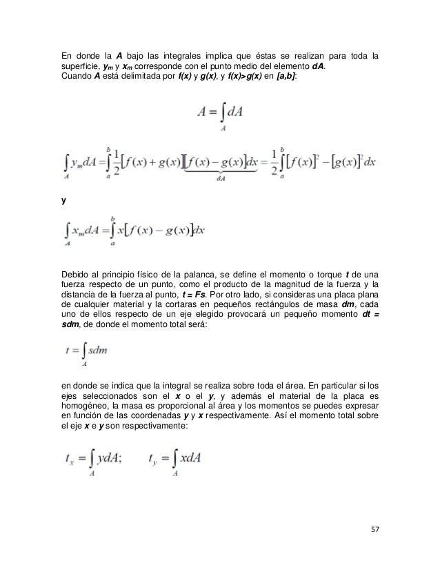 En donde la A bajo las integrales implica que éstas se realizan para toda lasuperficie, ym y xm corresponde con el punto m...