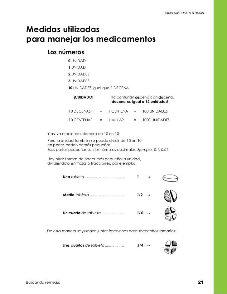 cómo calcular la dosisMedidas utilizadas para manejar los medicamentos         Los números                       0 UNIDAD...
