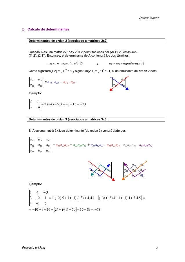 Determinantes Proyecto e-Math 3 Cálculo de determinantes Determinantes de orden 2 (asociados a matrices 2x2) Cuando A es u...