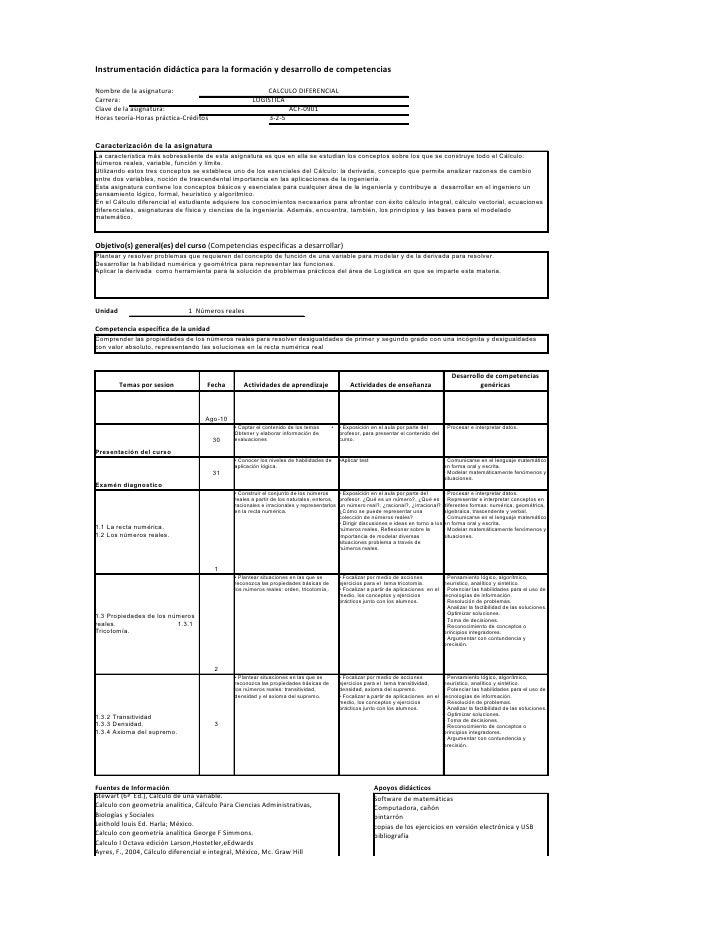 Instrumentación didáctica para la formación y desarrollo de competencias  Nombre de la asignatura:                        ...