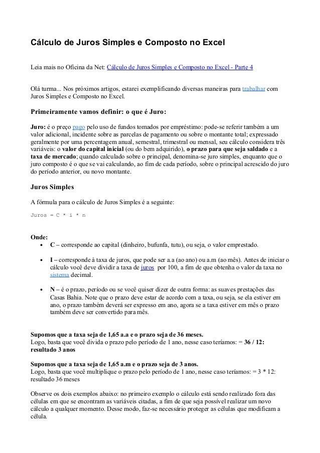 Cálculo de Juros Simples e Composto no ExcelLeia mais no Oficina da Net: Cálculo de Juros Simples e Composto no Excel - Pa...