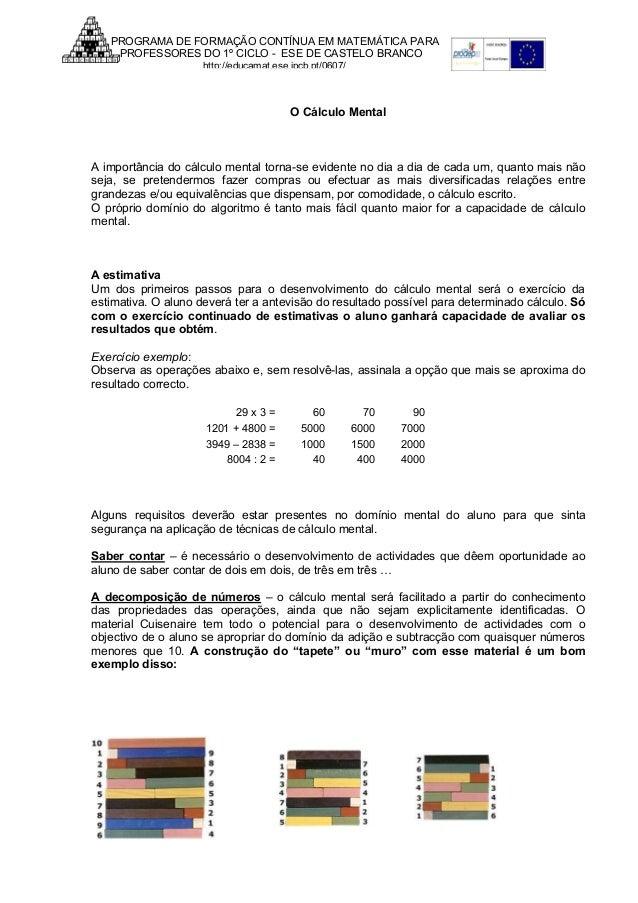 PROGRAMA DE FORMAÇÃO CONTÍNUA EM MATEMÁTICA PARA PROFESSORES DO 1º CICLO - ESE DE CASTELO BRANCO http://educamat.ese.ipcb....
