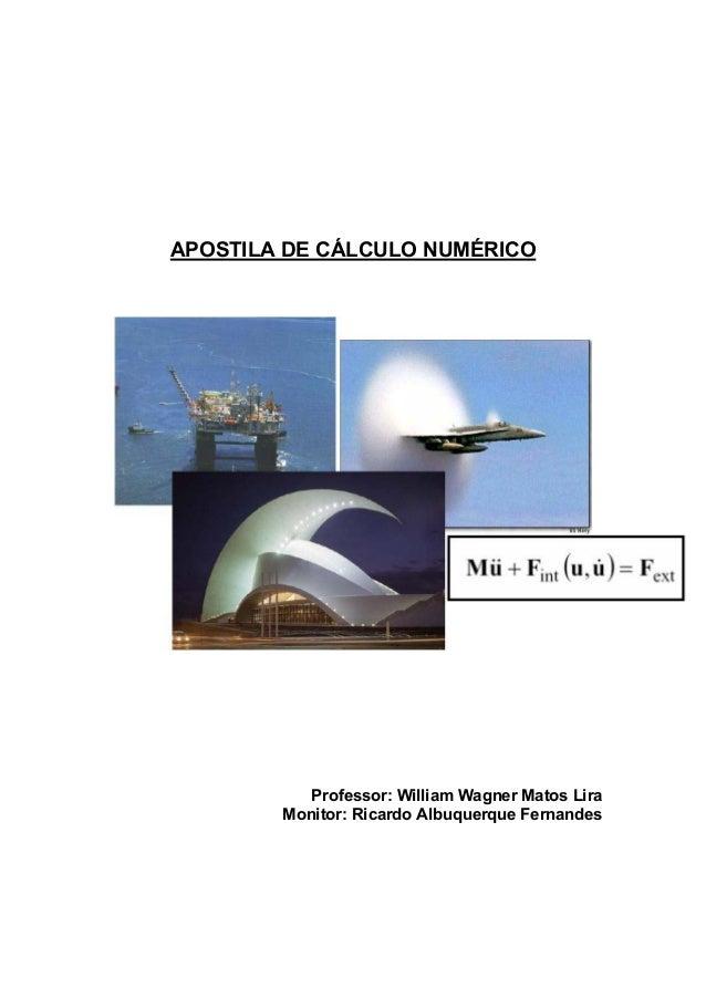 APOSTILA DE CÁLCULO NUMÉRICO Professor: William Wagner Matos Lira Monitor: Ricardo Albuquerque Fernandes