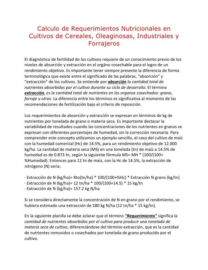 Calculo de Requerimientos Nutricionales en   Cultivos de Cereales, Oleaginosas, Industriales y                      Forraj...
