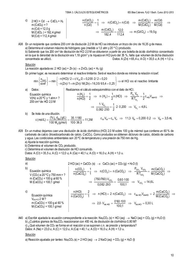 Calculos estequiometricos soluciones