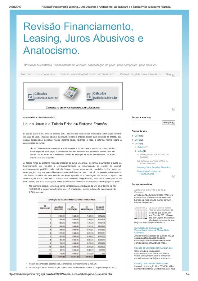 21/02/2015 RevisãoFinanciamento,Leasing,JurosAbusivoseAnatocismo.:LeidaUsuraeaTabelaPriceouSistemaFrancês....